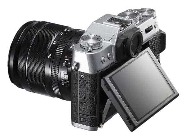 Fuji X-T10. Vista lateral y pantalla abatible