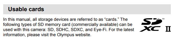 Tarjeta de memoria SD para Olympus EM-D E-M10 mark III