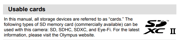 Tarjetas SD para Olympus E-M10 mark II