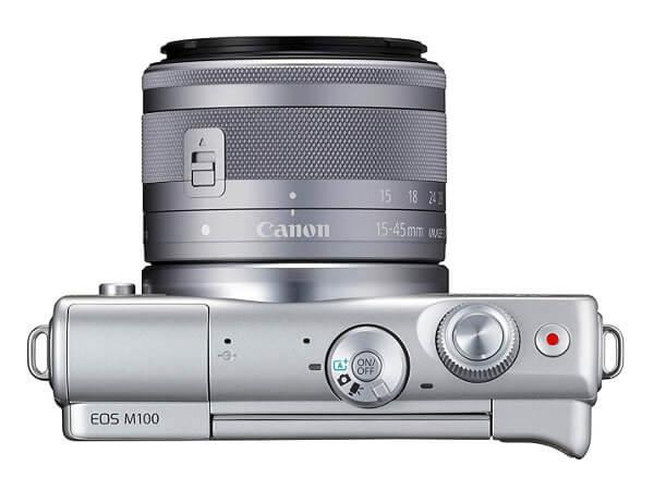 Canon EOS M100 vista superior con diales