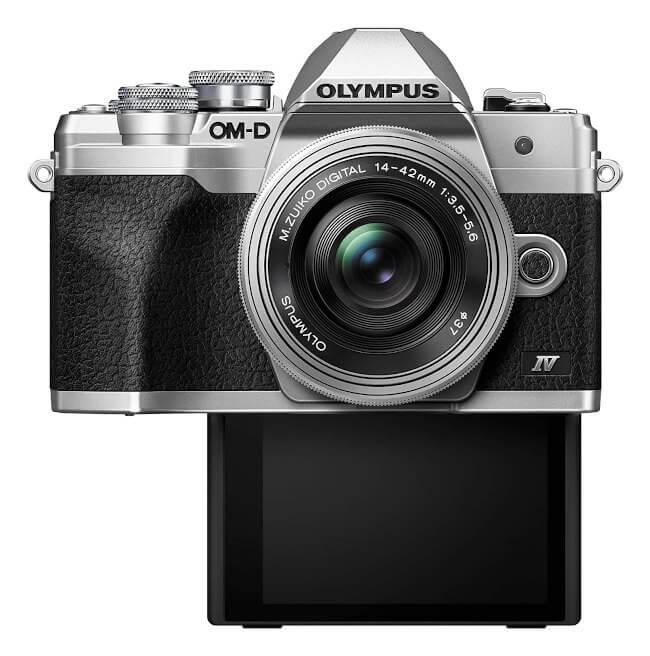 Cámara EVIL Olympus EM10 mark IV - pantalla trasera modo selfie